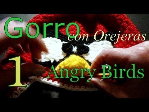 Como tejer gorro Angry Birds 1° parte (crochet earflap hat) -tejido para zurdos-