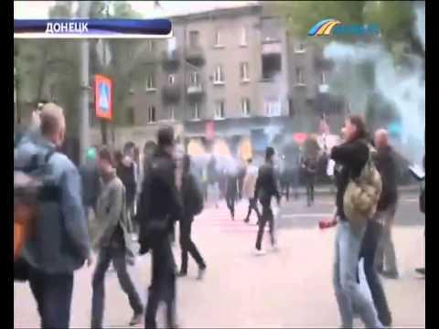 Марш за единую Украину в Донецке закончился кровопролитием