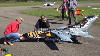 NATO ECR Tornado RC Scale turbine Jet Close view folding Wings and fast overflights by Julius Y