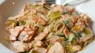 Creamy Salmon Leek Pasta - Easy Spring Seafood Pasta Sauce Recipe
