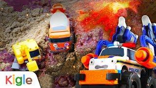 화산이 폭발했어요! | 슬라임(액체괴물) 용암에 빠진 중장비를 구해줘! | 타요 슈퍼구조대 01화 | 꼬마버스 타요 | 키글TV