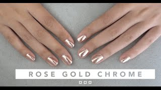 ROSE GOLD CHROME GEL NAIL TUTORIAL | ON NATURAL NAILS