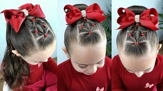 Penteado Infantil fácil com coque | Easy hairstyle with rubber band for girl | Coiffures simples