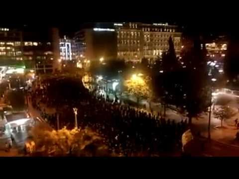 Athens: Aerial view of the massive solidarity protest to anarchist Nikos Romanos (2/12)