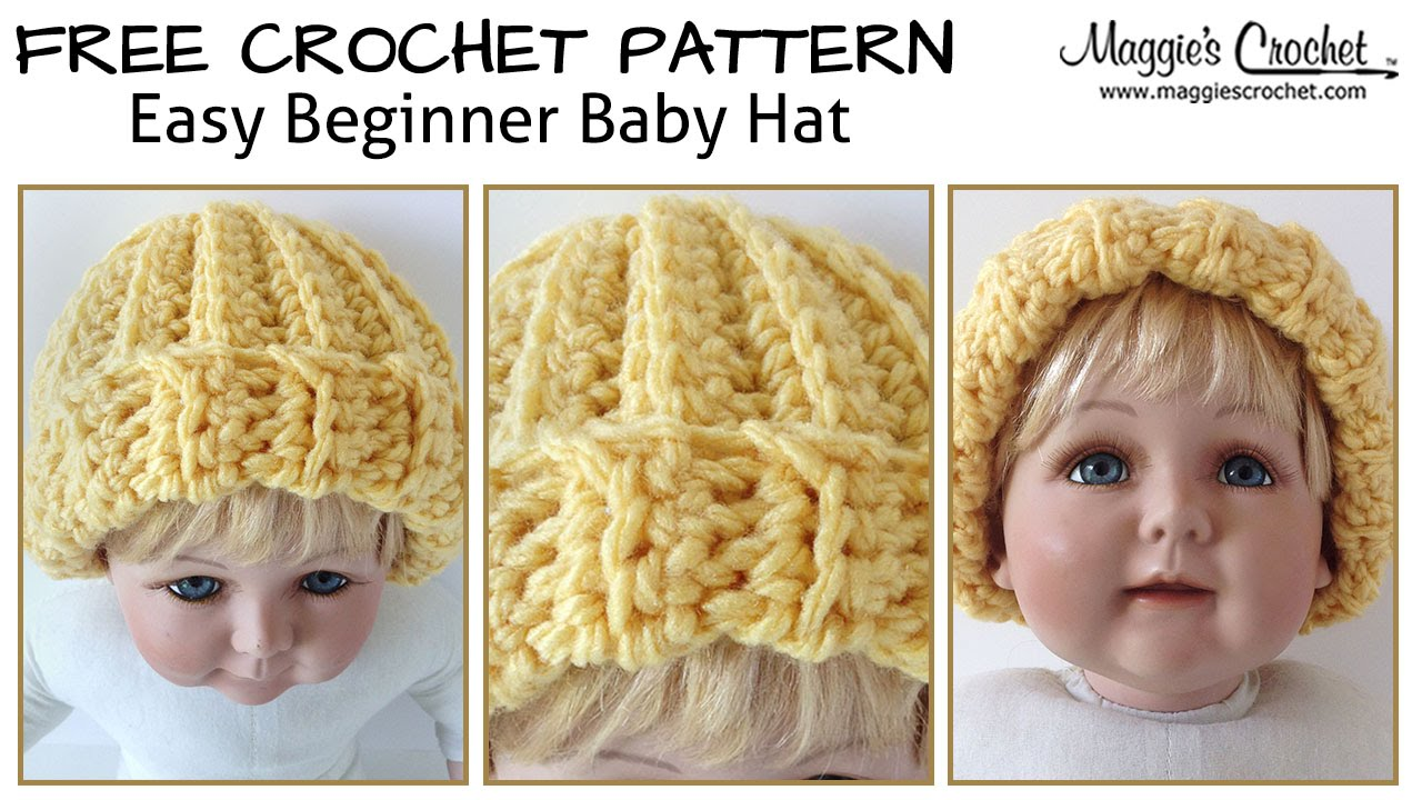Crochet Baby Hat Pattern Beginner : Easy Beginner Baby Hat Free Crochet Pattern - Right Handed ...