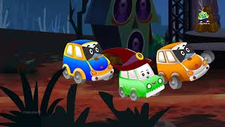 It's Halloween Party Baby Car Rescued by Police Car and Red Fire Truck Cartoon