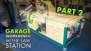 DIY WORKBENCH / MITER SAW Station PART 2! Building Dust Hood, T-Track & Drawers