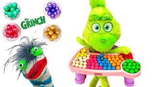 Learn Colors with Baby Grinch Eats Gumballs and Breakfast in High Chair
