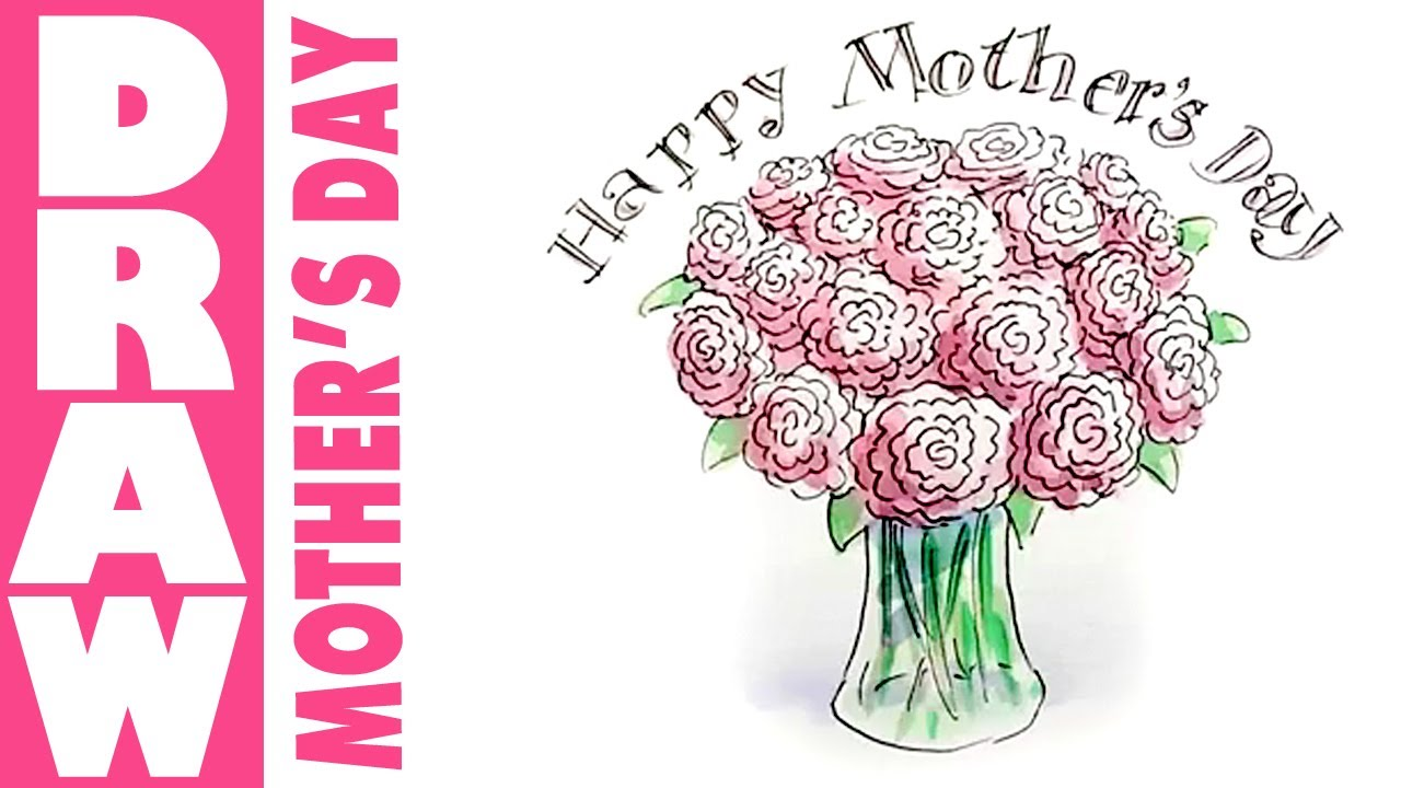 How to draw a vase of flowers for mothers day - YouTube How To Draw A Rose For Mothers Day