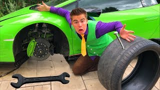 Mr. Joe on Lamborghini Huracan without Wheels in Tire Service w/ Flat Tire for Kids