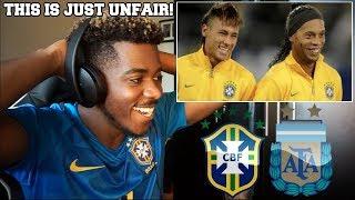 BRA 🇧🇷 x 🇦🇷 ARG - WHEN RONALDINHO AND NEYMAR DESTROYED ARGENTINA | Reaction