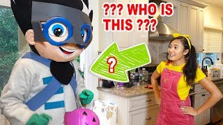 PJ Masks & Paw Patrol Go Trick or Treating for Halloween at Ellie's House In Real Life