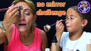 NO MIRROR MAKE UP CHALLENGE | ohne Spiegel schminken | FAMILY FUN