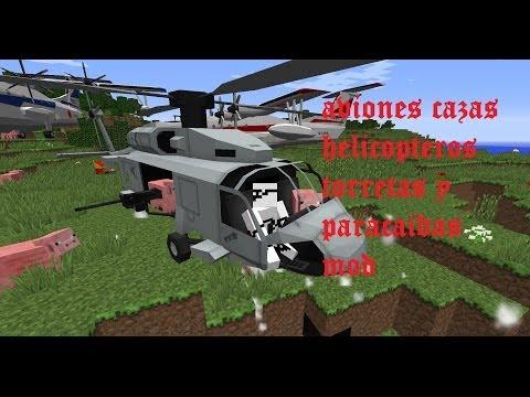 MINECRAFT REVIEW MOD AVIONES. CAZAS. TORRETAS. PARACAIDAS (MC Helicopter Mod 1.7.2/1.6.4/1.6.2) ESP
