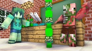 Monster School : GIRLS VS BOYS BOTTLE FLIP CHALLENGE - Minecraft Animation