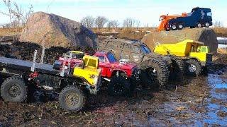RC ADVENTURES - MUD BATH - 5 Trucks get Dirty