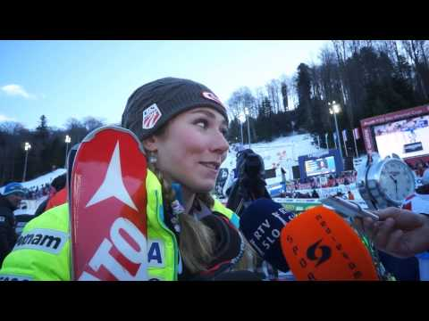 Mikaela Shiffrin after 1st run on Vip Snow Queen Trophy 2015 - Zagreb