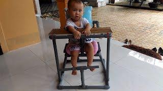 Ghế ăn dặm cho bé làm từ ống nhựa