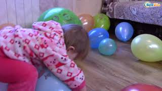Learn Colors With Funny Baby Balloons & Dog Baby Songs Nursery Rhymes for kids Colours