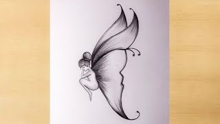 Pencil drawing of Beautiful butterfly drawingfairy girl pencildrawing