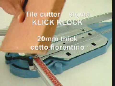 Taglio di piastrelle in Cotto fiorentino da 20mm a 90° con tagliapiastrelle  art. 3BK.
