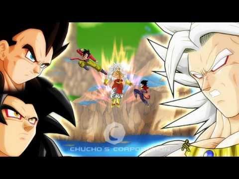 Goku Ssj4 And Vegeta Ssj4 Vs Broly Ssj 5 video