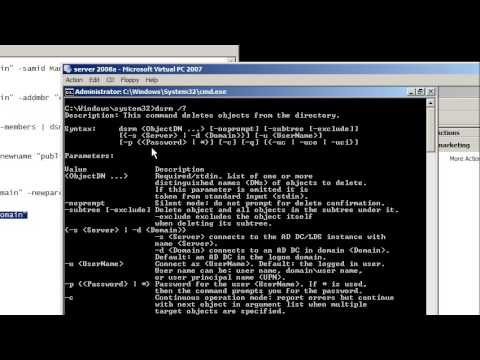 0 Windows Server 2008: command line for Active Directory groups