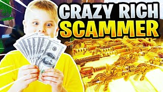 Stupid Rich Scammer Scams His Whole Inventory! (Scammer Gets Scammed) Fortnite Save The World