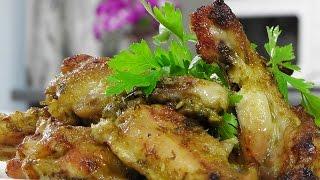 Куриные крылышки в соусе с зеленым луком