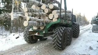 Forestry tractor in winter