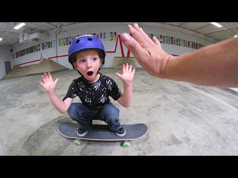 5 Year Old Skater Lands His First Ollie!