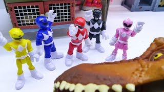 Toys Play Time Power Rangers vs MEGA GIANT T-rex Attack Dinosaur Battle Toy Story Action Movie 2018