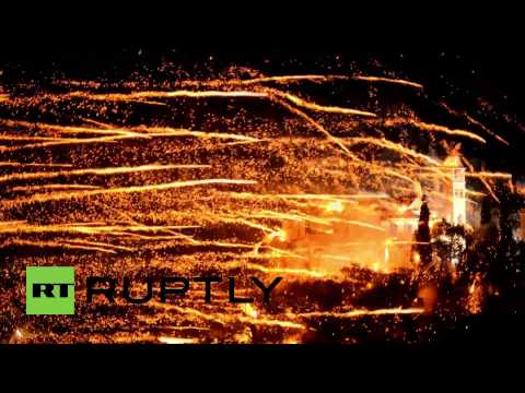 Greece: Brilliant Easter firework 'war' lights up the sky