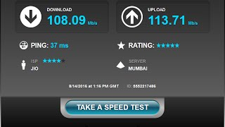 RELIANCE JIO 4G SPEED TEST! 120MBPS 4G SPEED!