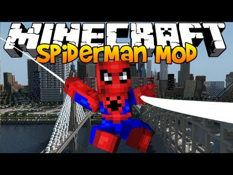 Minecraft - The Amazing Spiderman! CLIMB WALLS. SHOOT WEBS! (1.8 Mod)