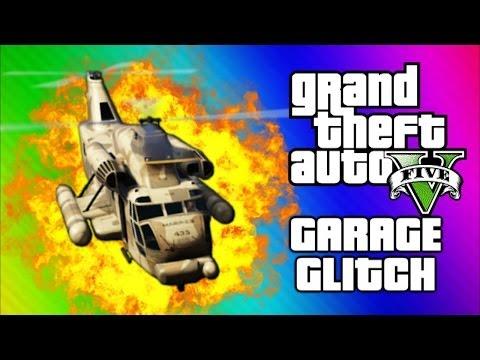 GTA 5 Cargobob Garage Glitch - Funny Moments, Explosions, Invisible Cars (GTA 5 Online Gameplay)