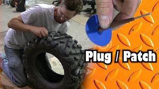 UTV ATV Tire Repair Using a Plug Patch
