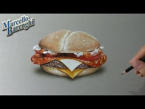 Drawing Time Lapse: McDonald's McFiggehn burger - hyperrealistic art