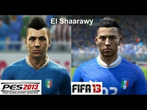PES 2013 vs FIFA 13 Face Comparison ITALY (National Team) El Shaarawy, Balotelli