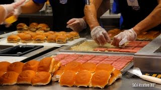 [HD] A Look at White Castle Las Vegas - Making a White Castle Burgers - Sliders