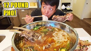 12 Pound SMOKED BRISKET Pho Noodle Soup With SHORT RIBS! Dangerous Story Time