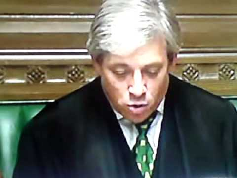 Division! Clear the Lobby. John Bercow in the House of Commons. 20th March 2012