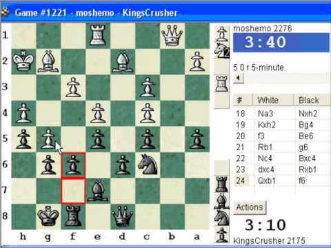 Chessworld.net : Blitz #282 vs. moshemo (2276) - French Defense : Chigorin variation (C00)