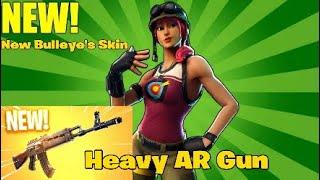 New Bulleye's Skin and New Heavy AR Gun!!! - Fortnite battle royal funny moments