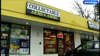 Gun store window display draws controversy