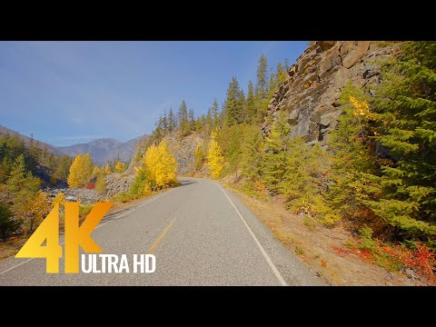 Icicle Creek Road, Leavenworth, WA State - Autumn Scenic Drive 4K 60fps (WITH MUSIC)