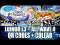 QR CODES LUINOR L3 REQUIEM S3 REGULUS R3 CAYNOX C3 + COLLAB C/ ZANKYE! BEYBLADE BURST APP QR CODES