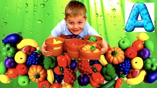 ENGLISH LEARNING: FRUITS, VEGETABLES, AND BERRIES WITH COLOR SORTING SET
