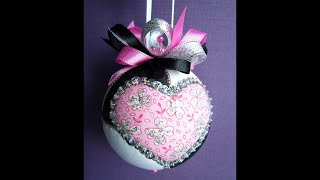 Two Hearts Sequined Kimekomi Ornament
