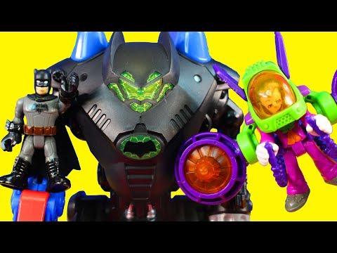 Imaginext Batman & Robin Set Toy Review Joker Tries To Destroy Transforming Batcave Batbot Robot